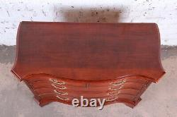 Century Furniture Chippendale Mahogany Bow Front Chest of Drawers or Commode