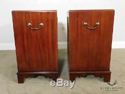 Chippendale Style Custom Mahogany Pair Chests Nightstands