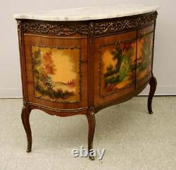Console, Louis XV Style Mahogany Bombe, 20th Century, Marble Top, Gorgeous