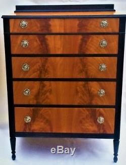 Crotch Flame Mahogany Chest of Drawers Antique High Boy Art Deco Dresser @1920