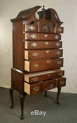 DREXEL HERITAGE Queen Anne Style Mahogany High Boy Chest Dresser Cabinet Armoire