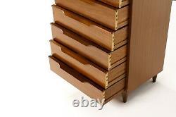 Danish Modern / Mid century Mahogany Chest / Upright Dresser Angular Pulls