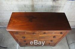 Early American Antique Crotch Mahogany Dresser 5 Drawer Empire Inlaid Chest
