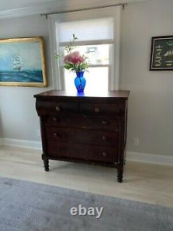 Early American Empire Style Flame Mahogany Dresser Or Chest