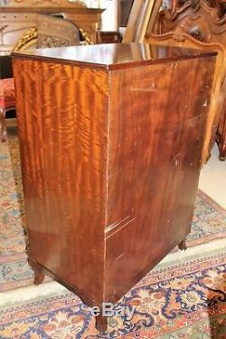 English Antique Mahogany Wood 5 Drawer Chest Bedroom Furniture Cabinet