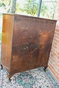 English Antique Queen Anne Mahogany Cabinet 3 Drawer 2 Door / Chest of drawer