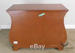 Ethan Allen Burlwood Front Mahogany Bombe Chest of Drawers