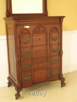 F23156EC Antique Chippendale Style Block Front Mahogany Chest w. Mirror