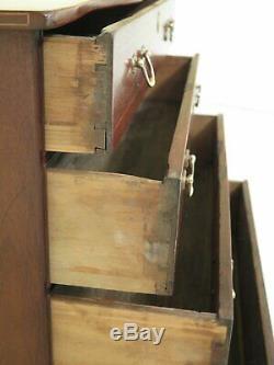 F46796EC Period Antique 4 Drawer Inlaid Mahogany Serpentine Chest