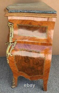 French Louis XV Style Mahogany Marble Commode Bombay Chest w Gilt Bronze Mounts