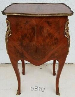 French Louis XV Style Petite Flame Mahogany Bombay Chest w Mounted Gilt Bronze