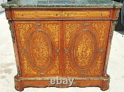 French Louis XV Style Petite Mahogany + Marble Bombay Chest Gilt Bronze Mounts