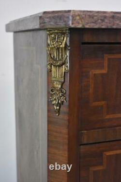 French Six Drawer Marble Top Mahogany & Satinwood Lingerie Chest Circa 1920's