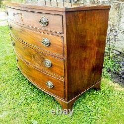 George III Mahogany & Oak Lined Bow Front Chest of Drawers C1810 (Georgian)