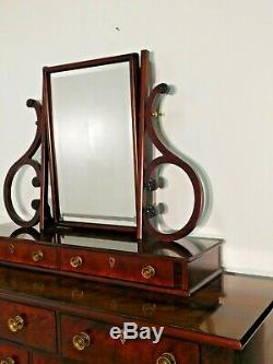 HENREDON Historic Natchez Empire Mahogany Long Chest w Mirror 2 Pieces