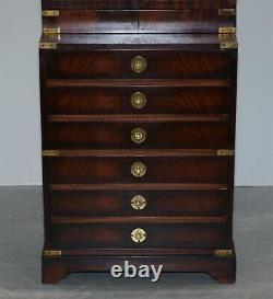 Harrods Kennedy Military Campaign Mahogany Brass Bookcase Chest Of Drawers