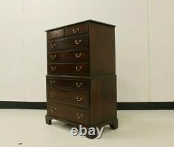 Henkel- Harris Solid Mahogany Chippendale Style Chest On Chest Model #119