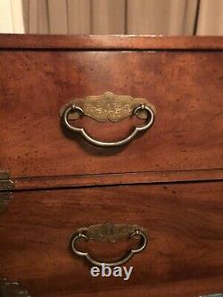 Henredon Pan Asian Tansu Style Campaign chest dresser etched Brass MCM