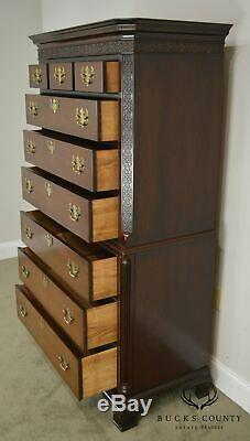 Hickory Chair Co. Mahogany Chippendale Style High Chest on Chest
