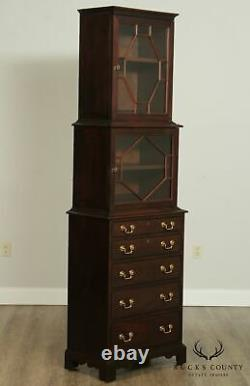 Hickory Chair George III Style Mahogany Tall Narrow Chest of Drawers, Bookcase