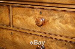 Huge 19th Century Victorian Light Flamed Mahogany Chest Of Drawers Hidden Drawer