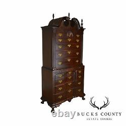 Irion Company Fine Hand Crafted Mahogany Chippendale Style Chest on Chest