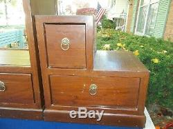 LAST LISTING! Antique Solid Mahogany Tansu 3 Piece Chest Cabinet