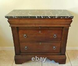 Large 36 Laura Ashley Mahogany Wood Marble Top Chest of Drawers Nightstand
