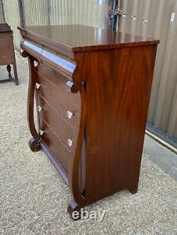Large antique victorian mahogany six drawer chest of drawers Delivery Available