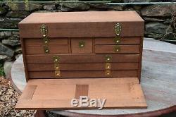 Large custom WOODEN Mahogany Brass ANTIQUE MACHINIST WOOD TOOL BOX CHEST