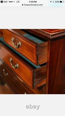 Late Georgian or Regency inlaid mahogany chest with bookcase early 19th C