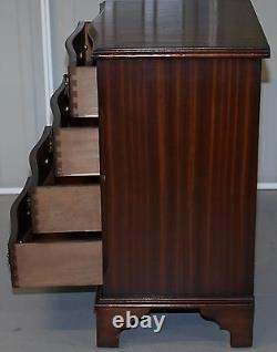 Lovely Sized Flamed Mahogany Veneer Side Table Bank / Chest Of Drawers Campaign