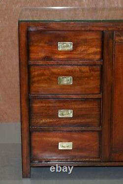 Lovely Vintage Military Campaign Style Sideboard With Chest Of Drawers Built In