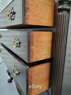 Mahogany 4-Drawer Queen Anne Dresser Chest withFluted Columns W. A. Hathaway