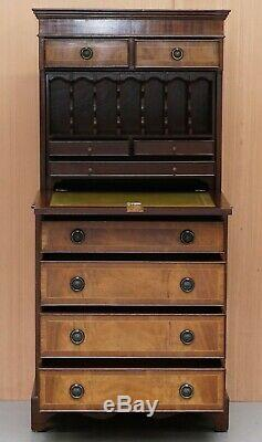 Mahogany Bevan Funnell Desk Bureau Chest Of Drawers Drop Front Green Leather