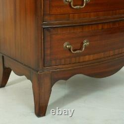 Mahogany Bow Front Chest of Drawers 4 drawer dresser with Brass Handles