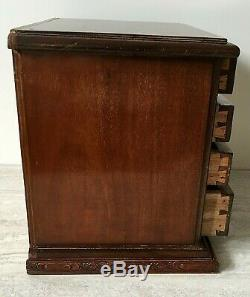 Mahogany Five Drawer Collectors Chest Table Top Chest of Drawers