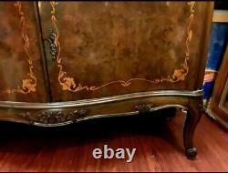 Opulent Vintage Louis XV French Style Inlaid Bar Cabinet Lingerie Chest Bookcase