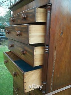 Outstanding American Mahogany Chest on Chest with Bun Feet 19thc