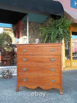 Outstanding Mahogany Hepplewhite Four Drawer Chest with Brass Hardware 19thc