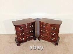 Pair Flame Mahogany THOMASVILLE Chippendale 18th Cen. Collection Bedside Chests