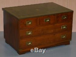 Pair Of Bevan Funell Mahogany Green Leather Military Campaign Chests Of Drawers