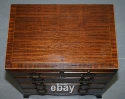 Pair Of Stunning Flamed Mahogany Side Table Sized Chests Of Drawers Serving Tray