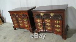 Pair Solid Mahogany Custom Bachelor Chests Dressers Nightstands Block-Front