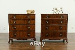 Pair of Vintage Bowfront Mahogany Chests or Nightstands, Weber #33654