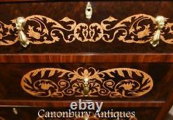 Queen Anne Chest Drawers Commode Marquetry Inlay