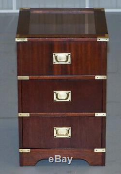 Rare Glass Top Display Case Military Campaign Side End Table Chest Of Drawers