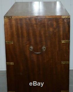 Rare S&h Jewell Stamped Victorian Mahogany Military Campaign Chest Of Drawers