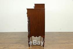 Sheraton Antique 1820 Mahogany Chest or Dresser, Spiral Columns #33342