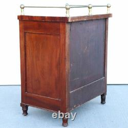 Small Antique English Mahogany and Brass Gallery Chest of Drawers 19th century